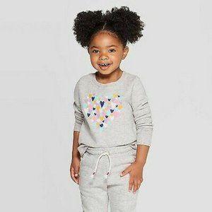 Cat & Jack Toddler Girl Heather Gray Heart Top 4T